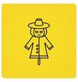 Scarecrow icon Human with pumpkin head sign vector image vector image