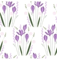 Seamless pattern with stylized cute crocuses vector image vector image