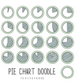 Set doodle segmented pie charts Sketch diagram vector image