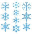 snowflakes symbols icons signs simple blue set vector image