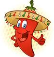 sombrero pepper thumbs up cartoon vector image vector image