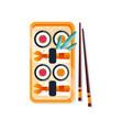 sushi rolls on a plate and chopsticks traditional vector image vector image