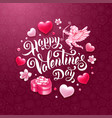 valentines day greeting card with cupid gift and vector image