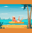 water sports cartoon background vector image vector image