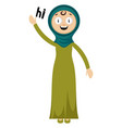 woman saying hi on white background vector image vector image