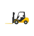 yellow forklift truck with fork in front vector image vector image