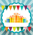 Retro Gift Boxes with Flags and Circle Label on vector image