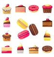 Set of fifteen delicious desserts for a menu vector image
