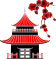 Asian house and cherry blossoms vector image vector image