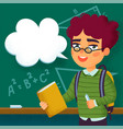 back to school boy pupil standing in front of vector image vector image