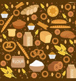 bakery products seamless pattern with bread loaf vector image vector image