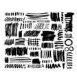black dry brush strokes hand drawn set vector image