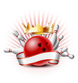 bowling sport emblem with red glossy ball bowling vector image