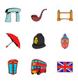 Britain icons set cartoon style