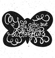 Butterflies with hand drawn typography poster vector image vector image