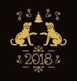 chinese zodiac year dog 2018 christmas vector image vector image