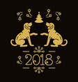 chinese zodiac year of the dog 2018 christmas vector image vector image