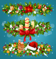 christmas tree and holly berry festive garland vector image vector image