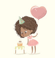 cute african-american happy girl with balloon vector image vector image