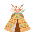 cute boho teepee with floral bouquet feathes vector image vector image