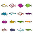 cute fish icons doodle set vector image vector image