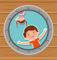 cute kids in the round window happy vector image