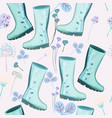 Cute spring pattern with blue rubber boots flower