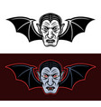 dracula vampire head with bat wings two styles vector image vector image