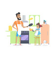 father and son cooking dinner preparing breakfast vector image vector image