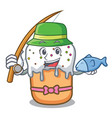 fishing easter cake mascot cartoon vector image vector image