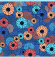 floral clash on blue geometric background seamless vector image vector image