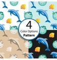 Four seamless pattern with dolphin and fish ball vector image vector image