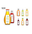 fresh juice realistic glass bottles with labels vector image