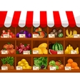 Fruit shop showcase stand with fruits vector image