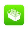 hand wash 60 degrees celsius icon green vector image