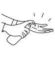 hands using hand sanitizer to protect covid-19 vector image vector image