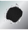 hexagon metallic background under hole vector image vector image