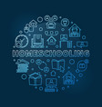 homeschooling concept round blue linear vector image vector image
