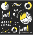 info graphics elements on black board vector image