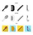 isolated object of brush and hair icon set of vector image