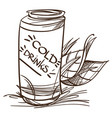 jar with a drink on a white background fast food vector image