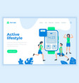 landing page template active lifestyle concept vector image