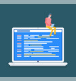 laptop with open webpage working desktop vector image