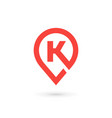 Letter k geotag logo icon design template elements vector image