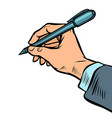 man hand with a pen vector image vector image