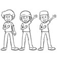 man in three different costumes vector image