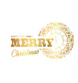 merry christmas sign and clock circle over white vector image vector image