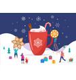 merry christmas winter scene with a big cocoa mug vector image vector image