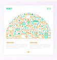 money concept in half circle with thin line icons vector image vector image