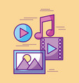 multimedia video music picture play desing vector image vector image